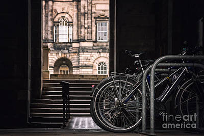 Bikes And Unversity Print by Jane Rix