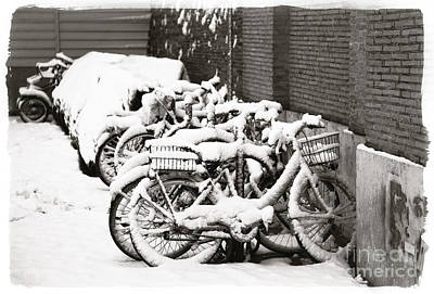Bikes Parked And Full Of Snow Print by Stefano Senise
