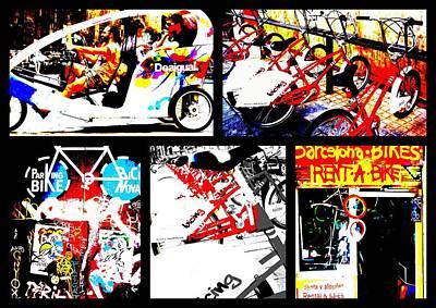 Biking In Barcelona Print by Funkpix Photo Hunter