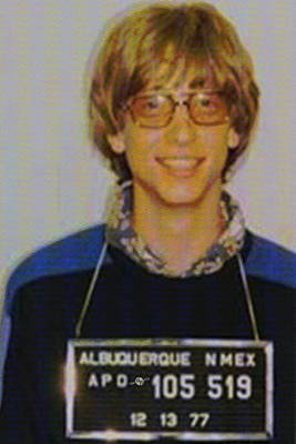Jail Painting - Bill Gates Mug Shot Vertical Color by Tony Rubino