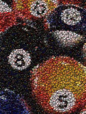Billiard Ball Bottle Cap Mosaic Print by Paul Van Scott