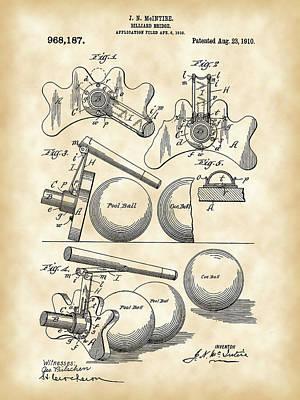 Pool Balls Digital Art - Billiard Bridge Patent 1910 - Vintage by Stephen Younts