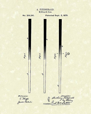 Balls Drawing - Billiard Cue 1879 Patent Art by Prior Art Design
