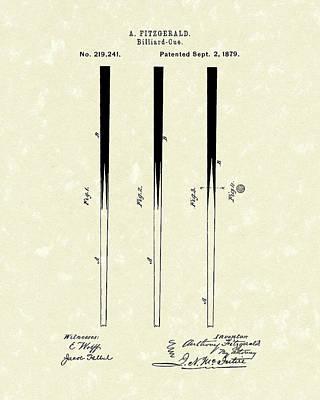 Pool Drawing - Billiard Cue 1879 Patent Art by Prior Art Design