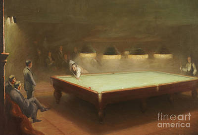 Aiming Painting - Billiard Match At Thurston by English School