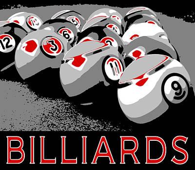 Pool Balls Digital Art - Billiards Pop Art by David G Paul