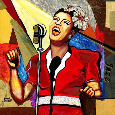 Wynton Marsalis Mixed Media - Billie Holiday by Everett Spruill