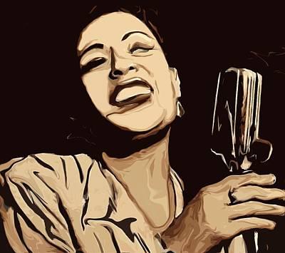 Blue Mixed Media - Billie Holiday by Jeff DOttavio