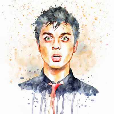 Billie Joe Armstrong Watercolor Print by Marian Voicu