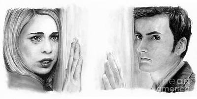 Doctor Who Drawing - Billie Piper And David Tennant by Rosalinda Markle