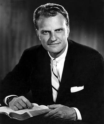 Publicity Shot Photograph - Billy Graham . Evangelist With Bible by Everett