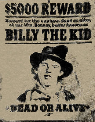 Billy The Kid Mug Shot Wanted Poster 1 Original by Tony Rubino