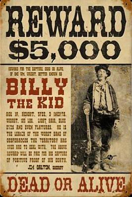 Billy The Kid Mug Shot Wanted Poster Print by Tony Rubino