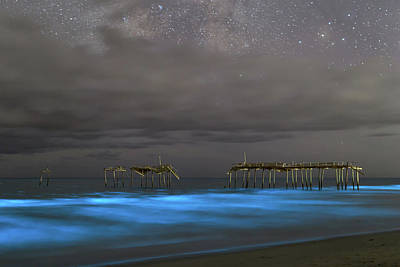Frisco Pier Photograph - Bioluminescence At Frisco Pier by Eric Murrill