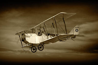 Biplane With Cloudy Sky In Sepia Tone Print by Randall Nyhof