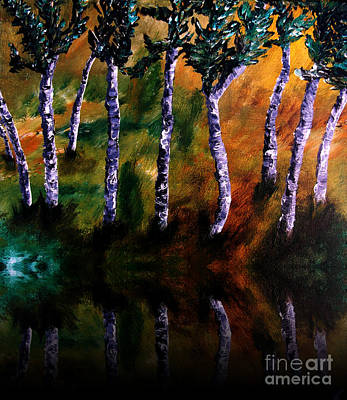 Forestry Painting - Birch Forest Reflections by Ayasha Loya Aka Pari  Dominic