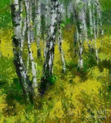 Minimalism Painting - Birch Grove by Dragica Micki Fortuna