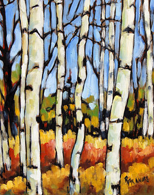 Finding Fine Art Painting - Birch Study By Prankearts by Richard T Pranke