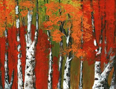Drawing - Birch Trees In An Autumn Forest by Anastasiya Malakhova