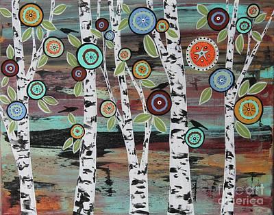 Blackbird Painting - Birch Woods by Karla Gerard