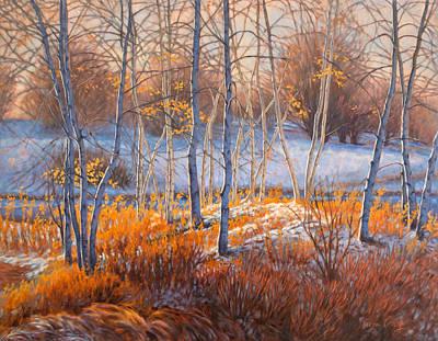 Birches In First Snow 2 Original by Fiona Craig