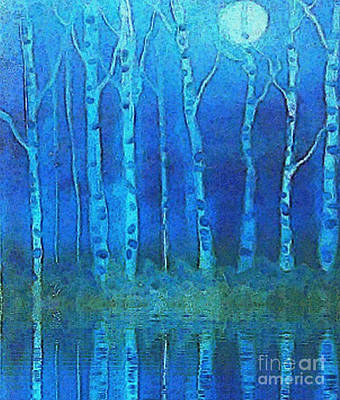 Birches In Moonlight Print by Holly Martinson