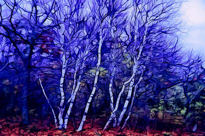 Autumn Digital Art - Birches In The Blue by Lilia D