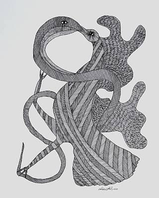 Ram Singh Urveti Painting - Bird Andthe Snake 2010 by Ram Singh Urveti