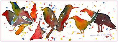 Drip Drawing - Bird Bash by Mindy Newman
