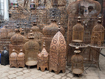 Bird Cages For Sale In Souk, Marrakesh Print by Panoramic Images