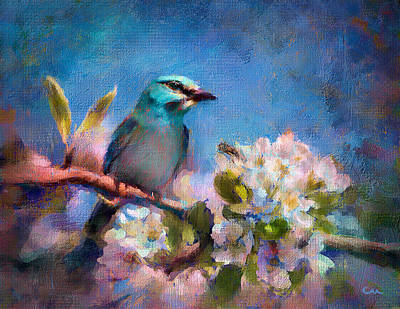 Cherry Blossoms Painting - Bird Blue by Chuck Underwood