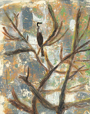 Anhinga Mixed Media - Bird Contemplating An Egg by Elizabeth Steel