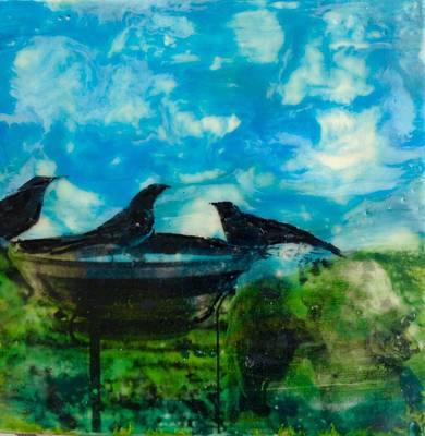 Garden Scene Mixed Media - Bird Feeder  by Caterina Martinico