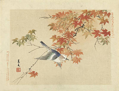 Drawing - Bird Flying Through Autumn Branches by Matsumura Keibun