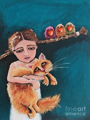 Painting - Bird Girl And The Red Cat by Lucia Stewart