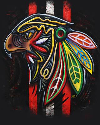 Art Of Hockey Mixed Media - Bird Head by Michael Figueroa