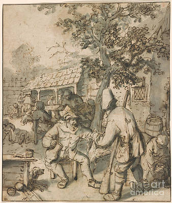 Hunters Painting - Bird-hunter Displaying His Trophies In The Courtyard Of An Inn by Celestial Images
