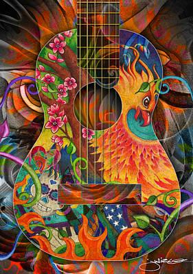 Phoenix Drawing - Bird Of Fire Guitar by Julie Oakes