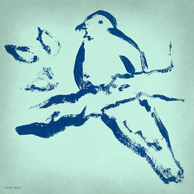 Bird On Branch In Blue Print by Valerie Reeves