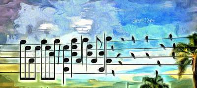 Wire Digital Art - Bird Orchestra - Da by Leonardo Digenio