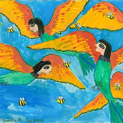Sue Burgess Painting - Bird People Bee Eaters For Artweeks by Sushila Burgess