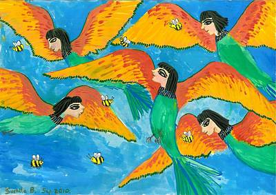 Half Bird Half Human Painting - Bird People Little Green Bee Eaters Of Upper Egypt by Sushila Burgess