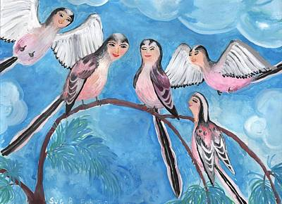 Sue Burgess Painting - Bird People Long Tailed Tits by Sushila Burgess