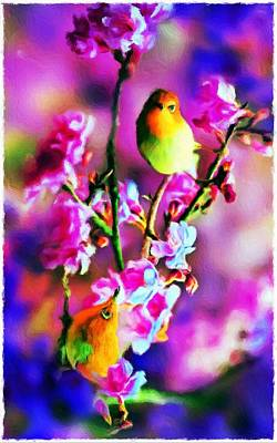 Abstract Oil Painting - Birds And Blossoms - Impressionist Painting by Katrina Britt