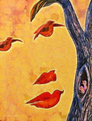 Baby Bird Digital Art - Birds And Tree - Da by Leonardo Digenio