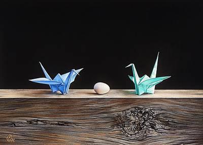 Mixed Media - Birds by Elena Kolotusha