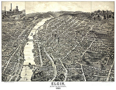 Vintage Map Painting - Bird's Eye Of Elgin - Illinois - 1880 by Pablo Romero