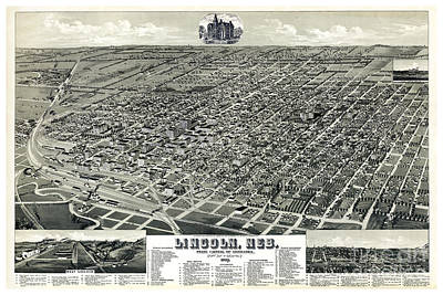 Vintage Map Painting - Birds Eye Of Lincoln, Nebraska - 1889 by Pablo Romero