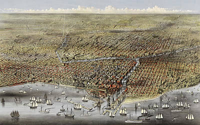 Grant Park Drawing - Bird's Eye View Of Chicago, Illinois From Above Lake Michigan, Circa 1874 by Currier and Ives