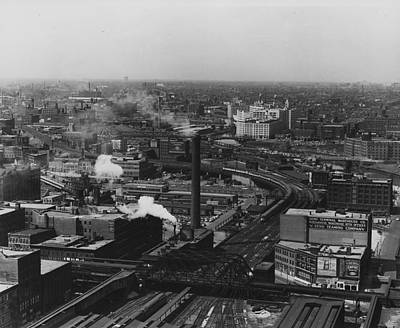 Bird's Eye View Of Chicago Terminal Yard Throat  Print by Chicago and North Western Historical Society